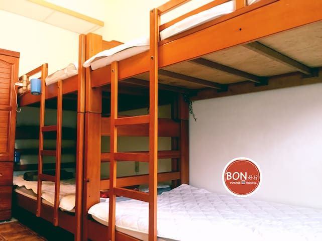 backpacker bunk in four people share room