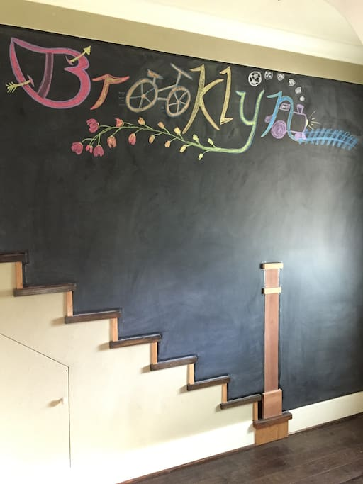 Welcome to the Brooklyn Neighborhood in Portland, OR:  Have fun with our chalkboard wall entrance!