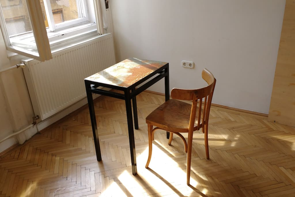 A desk bathing in sunlight