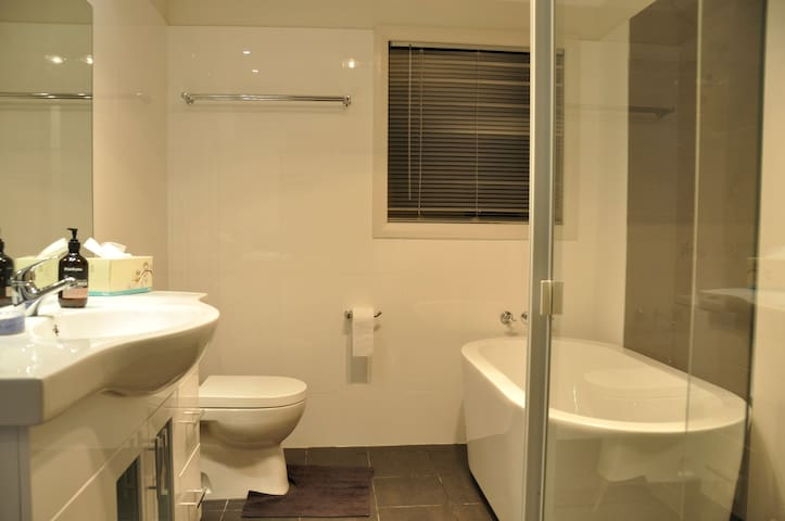 Downstairs full bathroom, featuring separate shower and free standing bath, vanity and bathroom accessories for guest use