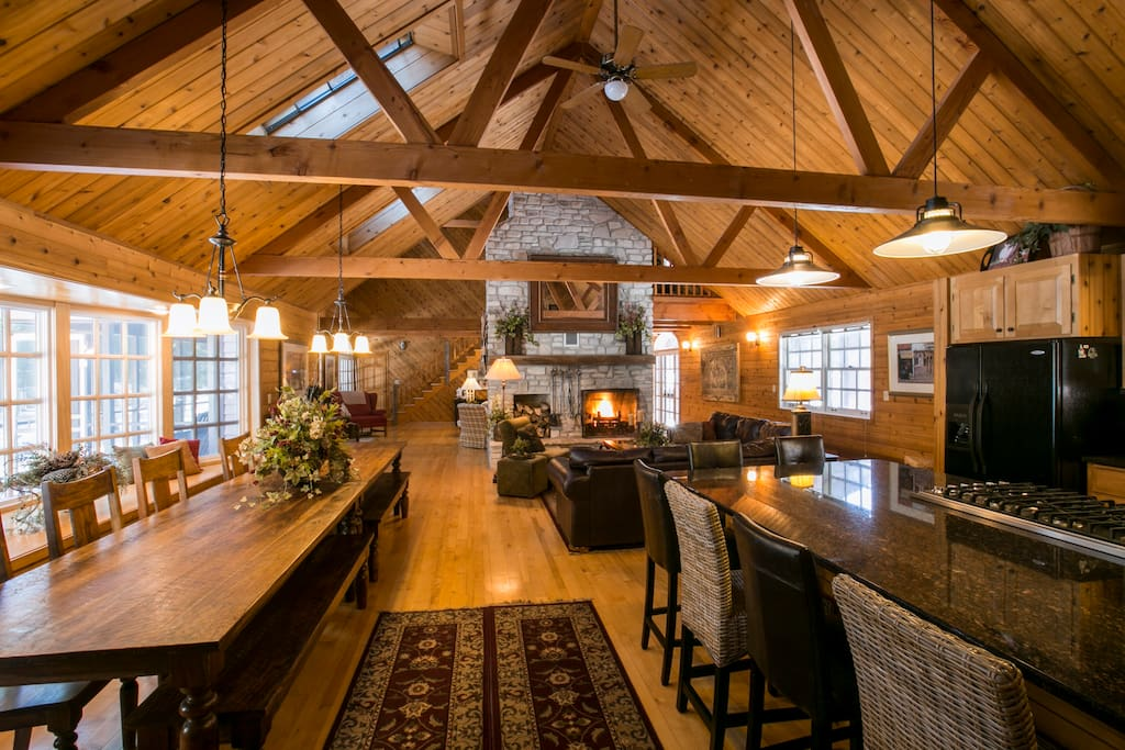 Great room view from the kitchen. Skylights, beams, 14-foot table!