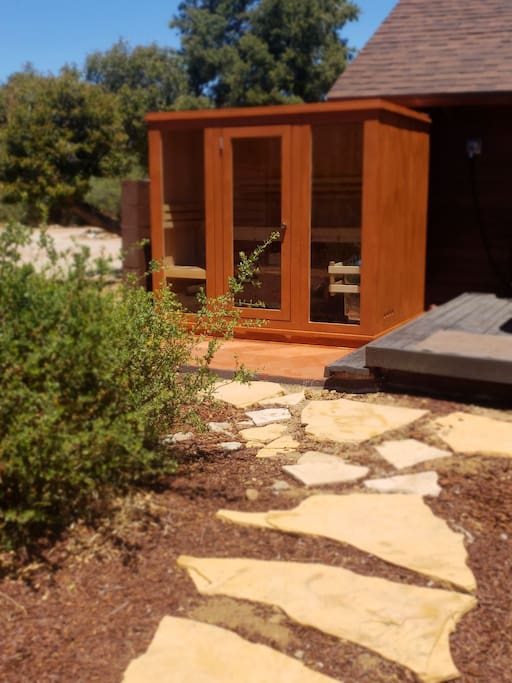 in addition to the jacuzzi we also have an outdoor steam sauna and outdoor shower. Back area is private.