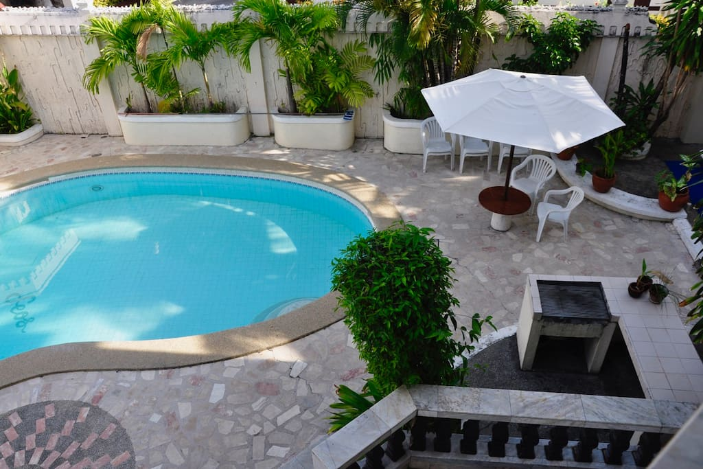 View of the pool area from the second floor terrace