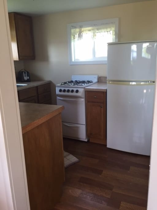 Kitchen features compact gas range, compact fridge, microwave, and coffee pot