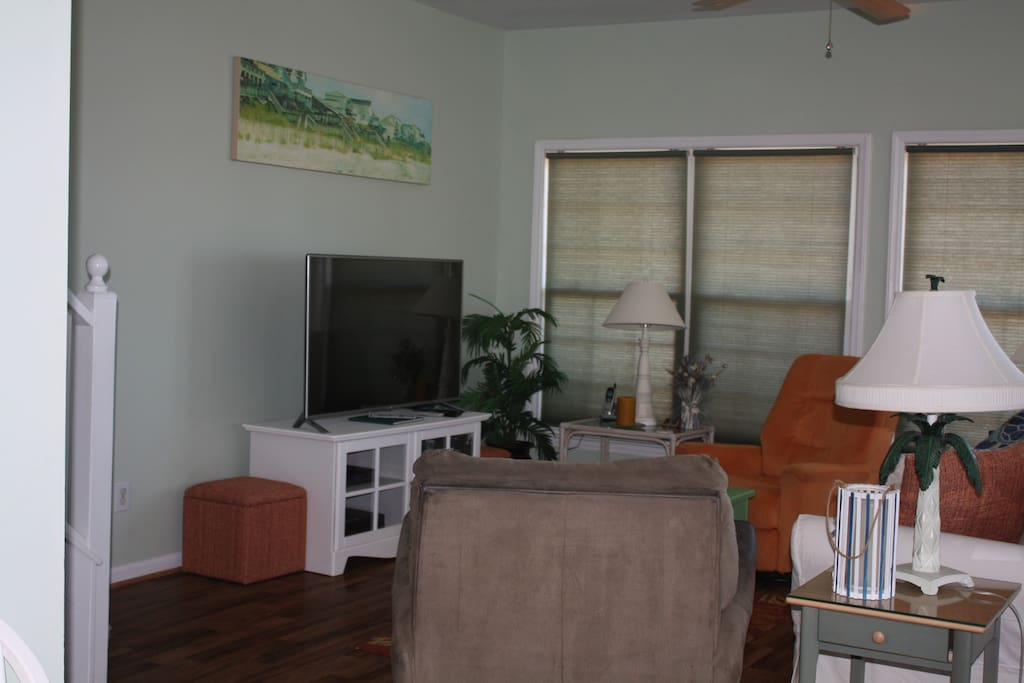 Great room with large HD TV