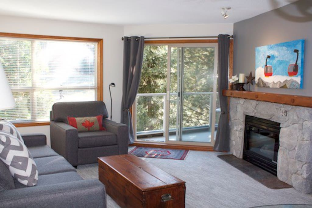 Bright and Airy Living Room with Slopeside Deck