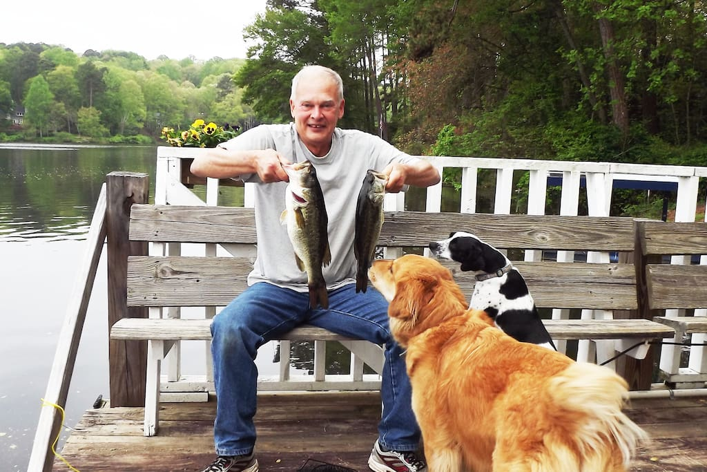 Bass, crappie, catfish. No license needed. I have even provided rods.  A guest caught a 7 lb bass!! See Joshua review!