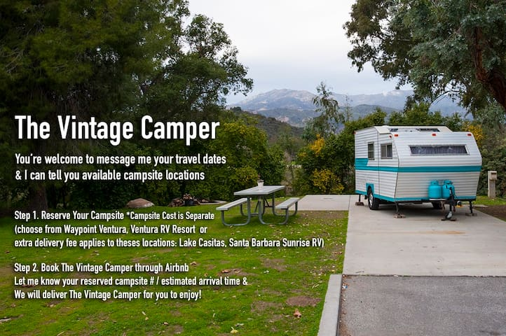 Vintage Camper Delivered to Your Reserved Campsite