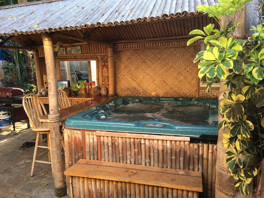 The hot tub and bamboo bar offer a great, private get away from the hustle of downtown HB.