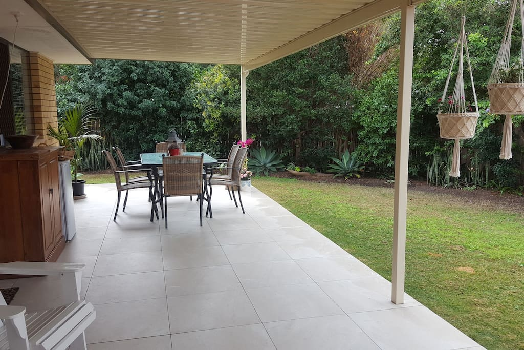 Outdoor patio and entertainment area