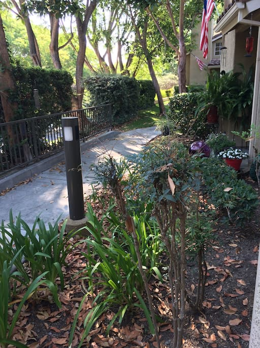 walkway to front door, ground level, high on hill