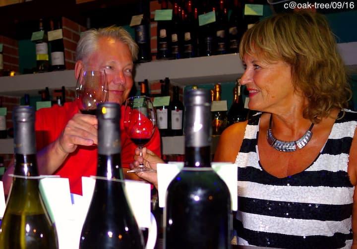 visitors having a wine tasting
