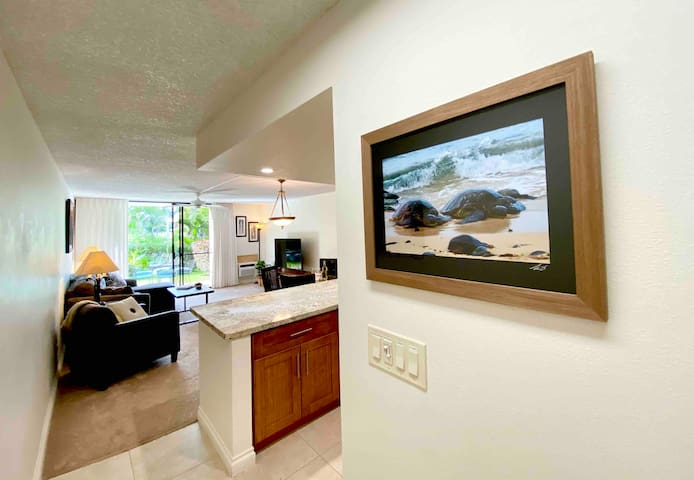 Beautiful artwork throughout condo by local artist