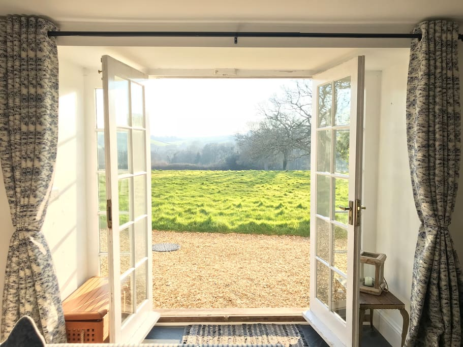 View across the rolling countryside hills from the living room