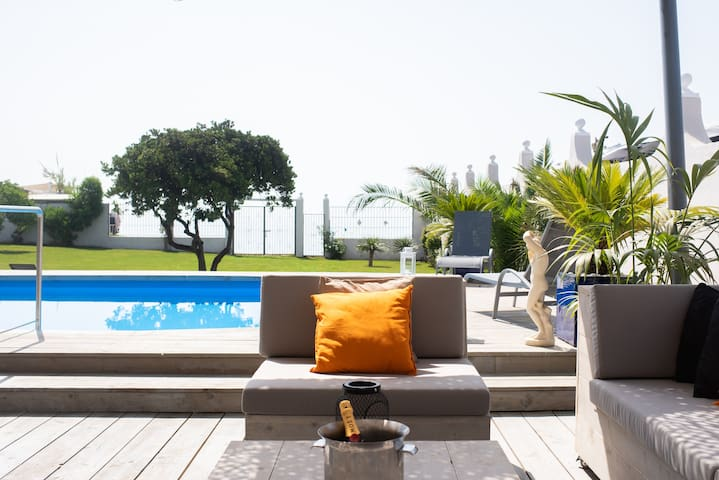 Relaxing seating area on patio