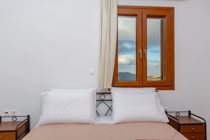 Bedroom with king-size bed, large wardrobe,  two bed-tables,  wonderful view and very large balcony.