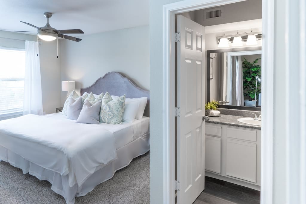The King master suite! Enjoy the plush luxury hotel-grade linens and a memory foam K mattress
