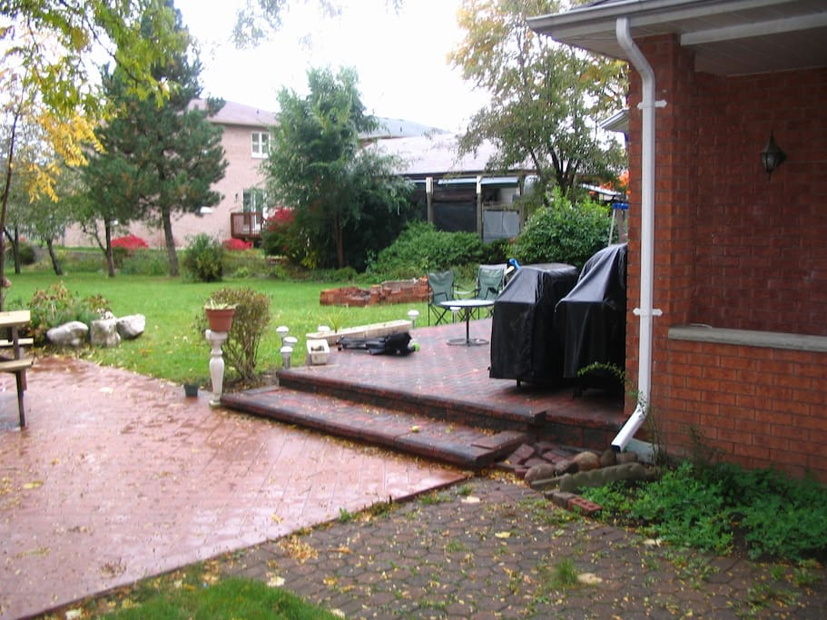 View of the back yard, deck and court yard.
