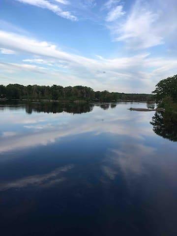 Stillwater River, 1/2 mile down Main Street towards the university