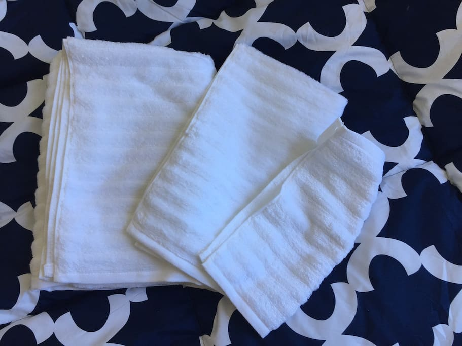 One set of towels (3 sizes) is provided for each guest