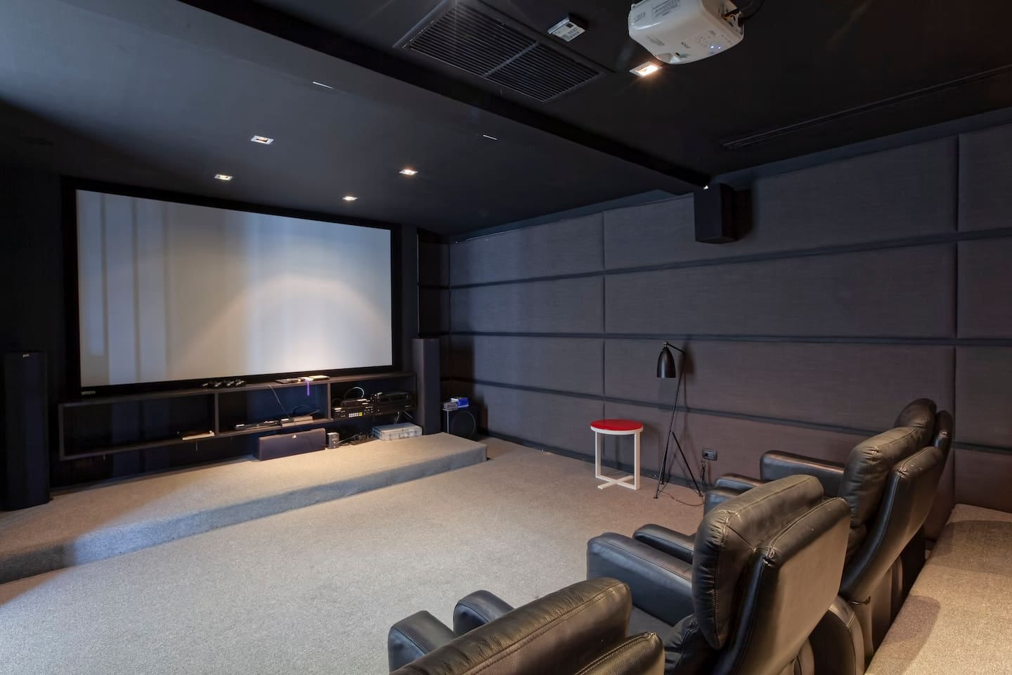 The movie room!  Excellent for watching movies, enjoying karaoke, or making presentations.