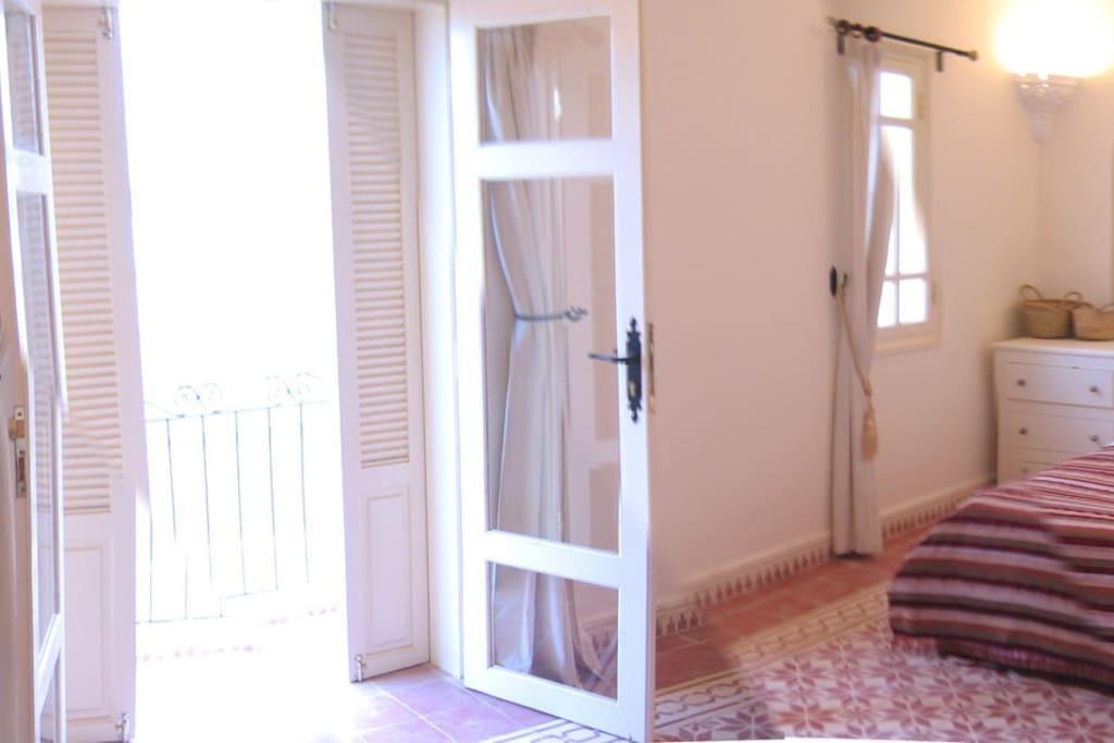 The doors leading to the balcony