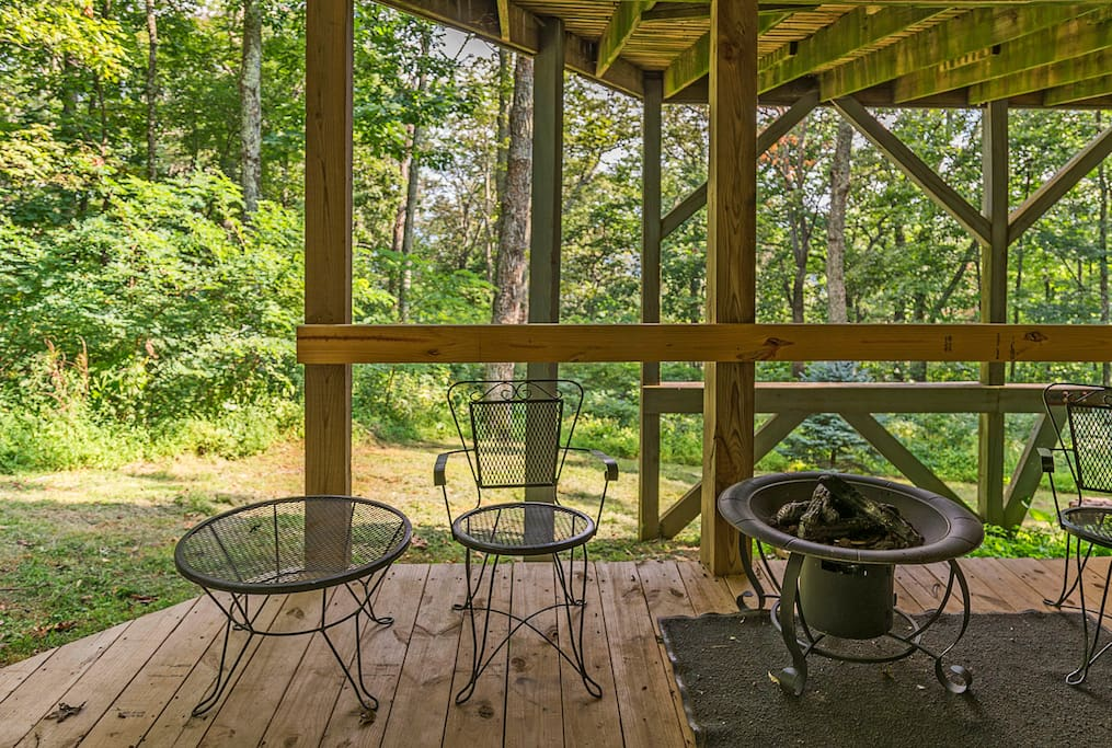 Your own deck area w/ propane fire place.