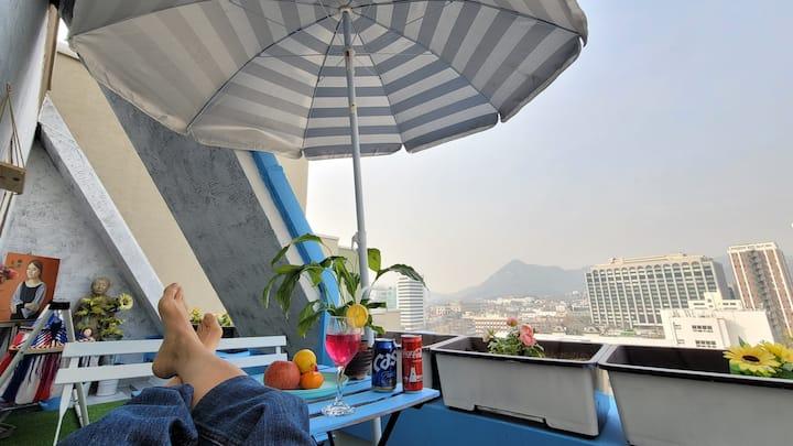 익선동☆청와대 지붕이 보이는 환상 전망발코니집☆5 Stars View Terrace Apt