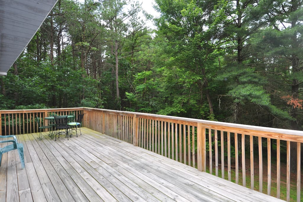 The open back deck is perfect for doing your morning yoga stretches.
