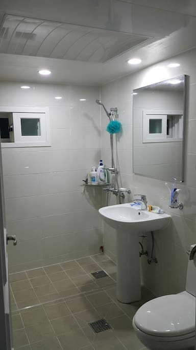 Clean bathroom with modern features.