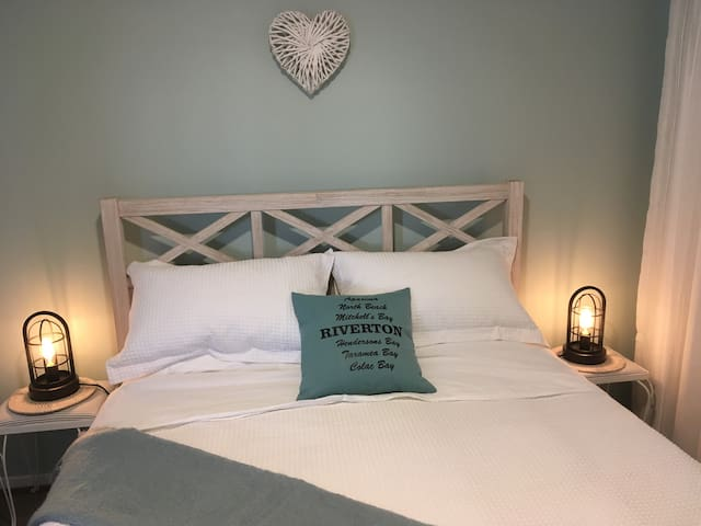 Queen Bedroom, lovely linens and a wonderful relaxing space