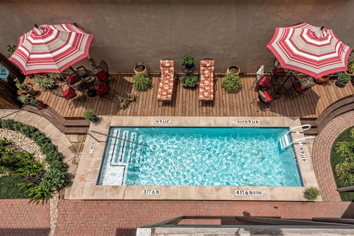 Check out our cool courtyard pool. Heated to 90 degrees.