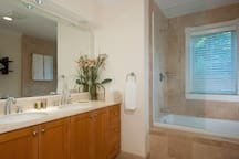 The en suite bath with dual sinks