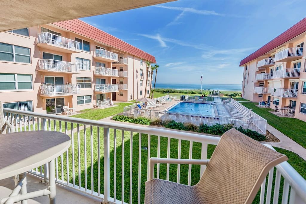 Enjoy views of the ocean and pool right from your balcony.