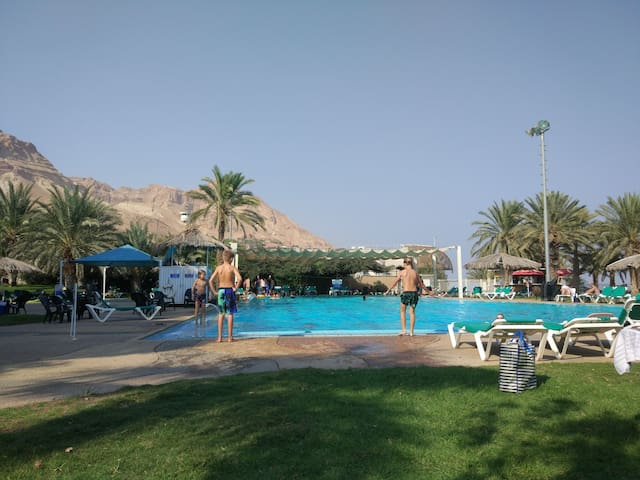 swimming pool at the hotel - you get free entrance