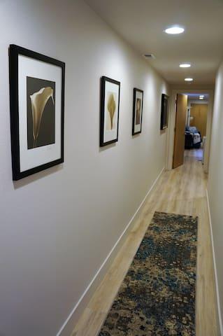 Hallway leading to studio