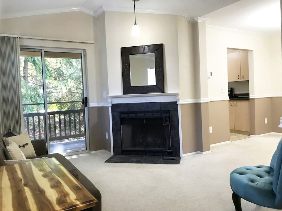 Family room. Sliding door to private deck.