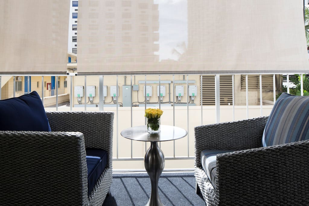 Enjoy Hawaii's sunshine out on the Lanai (Balcony) or draw the shades for extra privacy.