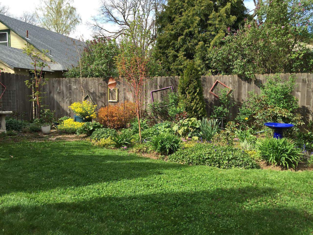 Inviting, private backyard garden.