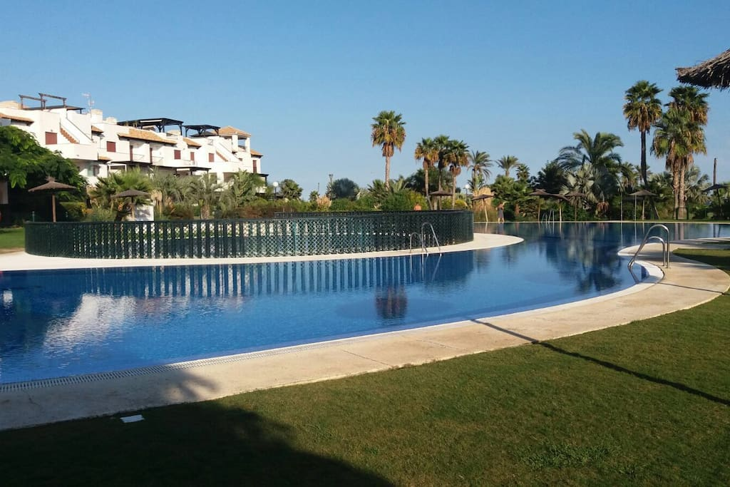 Piscina principal y piscina infantil con barrera protectora