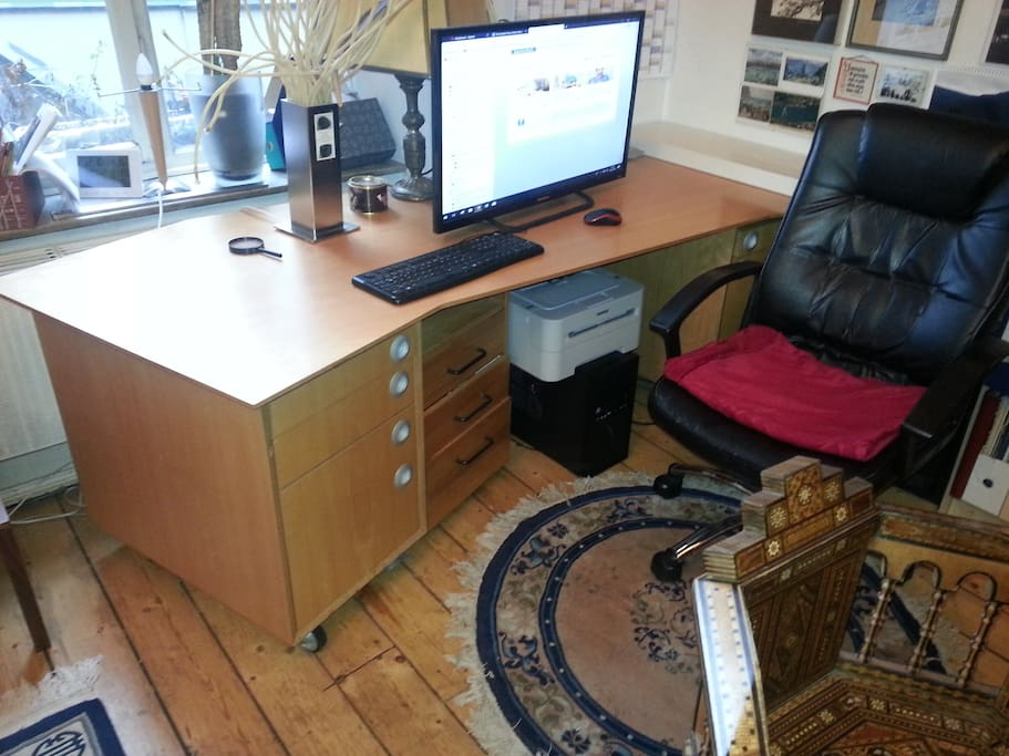 office desk with printer (Brother black & white)