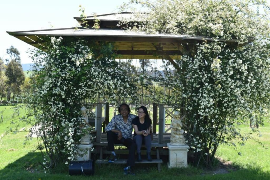 Love is in the air....one of two romantic gazebos to wine and dine watching the setting sun