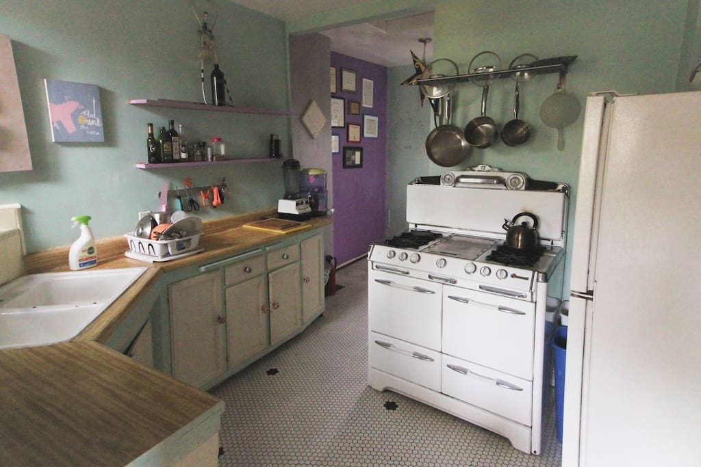 The kitchen is magical and perfectly sized for 1 or 2 with all the accoutrements.