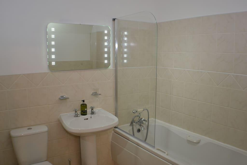 Family Bathroom ~ Bath/Shower, WC & Basin