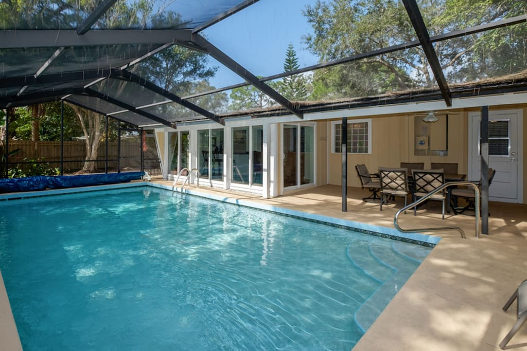 Relax in your private screened and heated pool.