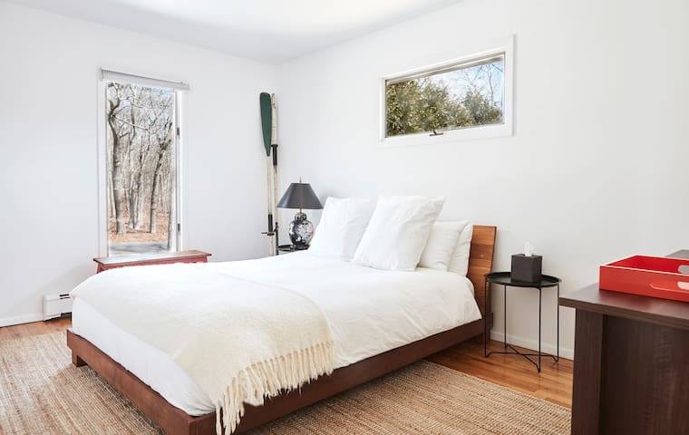 Queen Bedroom 2 with views of nature preserve. + large closet & dresser.