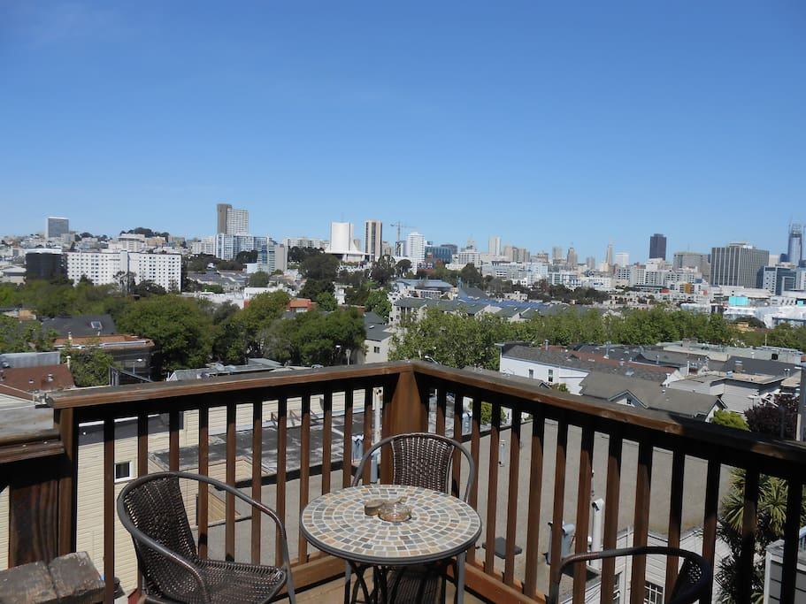 Breathtaking view from deck to savor your morning coffee, tea or enjoy a nice glass of California wine with dazzling city night lights