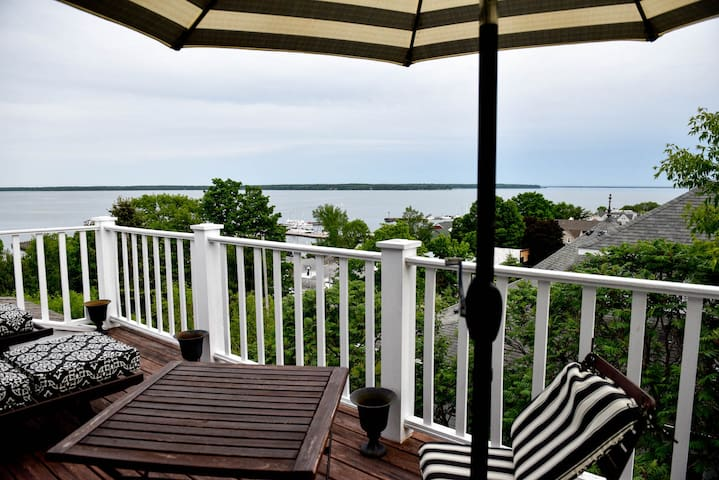 Veranda overlooks town of Bayfield, Madeline Island, and beautiful lake Superior.