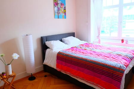 Central clean cozy bright bedroom in a 5 room flat - Luzern - Wohnung