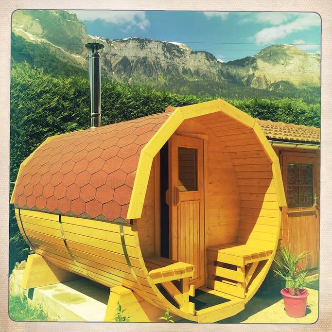 sauna tonneau poêle à bois